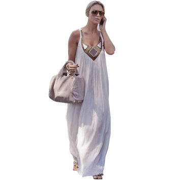 Fashion Women Summer Sexy Dresses Long Maxi Dress Evening Party Beach Chiffon  Sundress