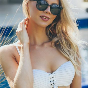 Lace Up Glitter Bandeau Swim Top Multi