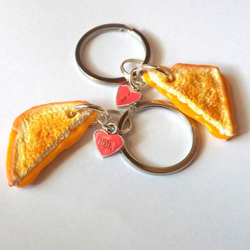 Grilled Cheese Keychains - Personalized Best Friends Gift - Realistic Miniature Food Keychain - BFF Foodie Gift - PitterPatterPolymer