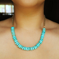 Turquoise Necklace and Chain by theblackfeather on Etsy