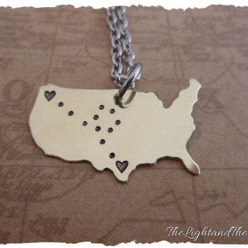 Brass Long Distance Relationship Necklace - Ships FAST Map - USA - Custom - LDR - Long Distance Love