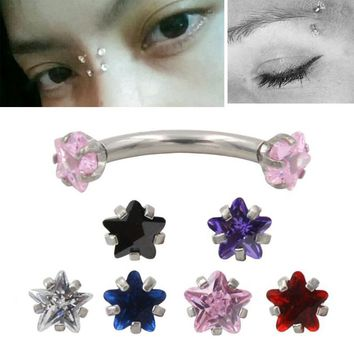 2Pcs High Quality & Cheap 16L Stainless Steel 16g Zircon CZ Gem Curved Eyebrow Ear Cartilage Helix Piercing Ring Body Jewelry