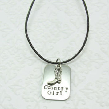 Country Girl Hand Stamped Necklace on Leather Cord