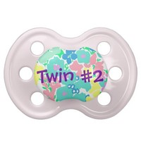 """Twin #2"" Floral Baby Girl Pacifier from Zazzle.com"