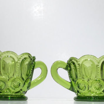 L E Smith Creamer and Sugar Set, Vintage L. E. Smith Green Glass Sugar Bowl and Creamer in Moon and Stars Pattern, Creamer and Sugar Set