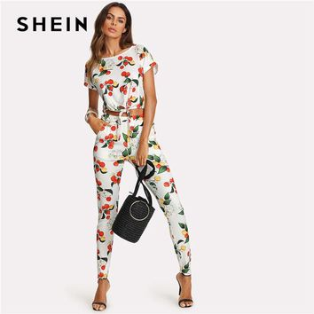 SHEIN Botanical Print Knot Front Roll Up Sleeve Top And Pants Set 2018 Women Round Neck Short Sleeve Pocket Casual 2 Pieces Sets
