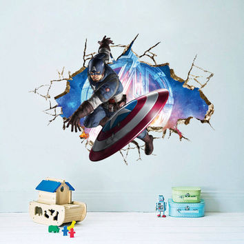 Marvel The Avengers American Captain Minecraft  Star Wars  Pokemon Wall Stickers Kids Room Decal 3D removable Sticker Decoration