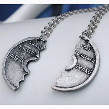Train Together Stay Together Weighted Plate Bae/BFF Puzzle Necklace