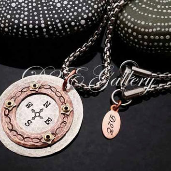 D2E hand stamped mixed metal artisan necklace Riveted copper and silver compass unisex infinity