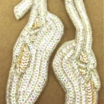 "Ballet Slippers with Iridescent and Cream Sequins Silver Beads 9.5"" x 4"""