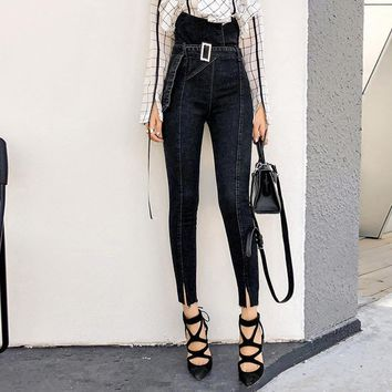 Fashion Retro High Waist Bodycon Show Thin Jeans Women Casual Pencil Pants Trousers