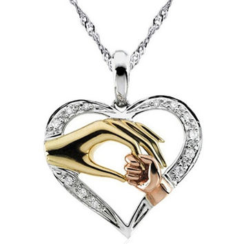 Mother Baby Heart Pendant Mom Daughter Son Child Family Love Cubic Zirconia Necklace Moms Jewelry Birthday