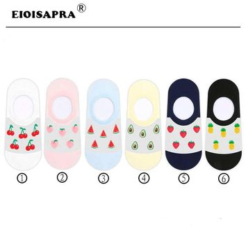 [EIOISAPRA]Kawaii Harajuku Funny Socks Strawberry Pineapple Avocado Watermelon Peach Cherry Fruit Meias Transparent Women Socks
