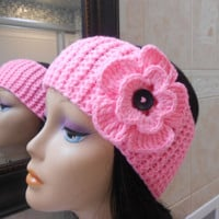 pink Knit Headband, Ear Warmer with Crochet Flower and Button