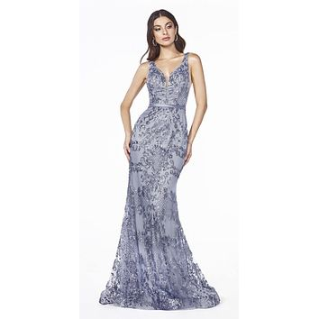 Mermaid Glitter-Print Long Prom Dress Smokey Blue
