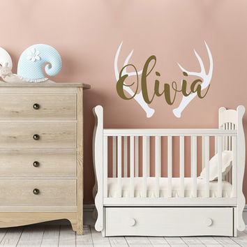 Personalized Deer Antlers Name Decal- Rustic Girl Boho Nursery Decor- Antler Wall Decal- Hunting Themed Woodland Nursery Kids Decor #102