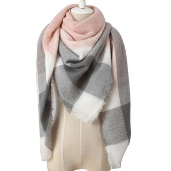 STYLEDOME Scarf For Women Cashmere Plaid Triangle Scarves Blanket