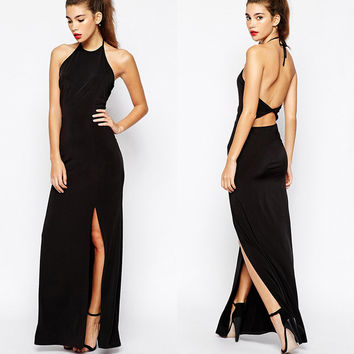 Fashion Halter Cutout Back Side Slit Hip Wrapped Maxi Dress = 4775961476