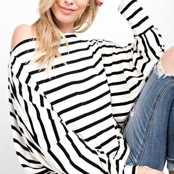 Striped Dolman Sleeve Boat Neck Top - Ivory/Black