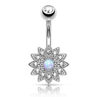 BodyJ4You Petite Crystal Clear Jeweled Created-Opal Flower Belly Button Navel Ring