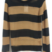 Black Coffee Striped Long Sleeve Pullovers Sweater - Sheinside.com