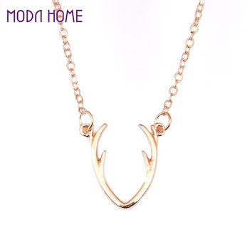 Woman Girl Zinc Alloy Animal Deer Horn Pendant Necklace Clavicle Chain Necklace Jewelry Party Wedding Gift SM6