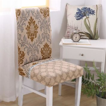 Floral Print Spandex Elastic Chair Cover Stretch Dustproof Chair Covers Modern decoration Party Banquet Slipcover Seat Cover