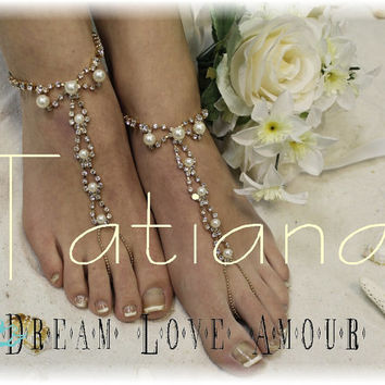 Gold Pearl Chic Barefoot sandals- beach wedding bridal foot jewelry-rhinestone -pearl wedding shoes-footless sandles-Paris style Tatiana S2