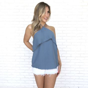 Linen Halter Top In Blue
