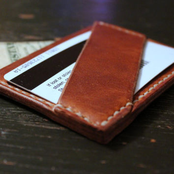 Men's Slim Minimal Leather Wallet / Handcrafted / Handstitched / Made in America / Custom Thread / Groomsman Gifts / Horween Leather