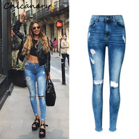Raw Hem High Rise Knee Distressed Skinny Jeans