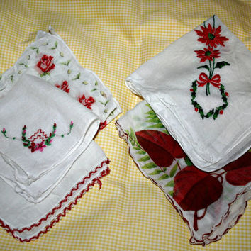 Vintage Christmas Handkerchief Set of 5  Holiday Hankies Red and Green Embroidered Hankies Printed Handkerchiefs Stocking Stuffer for Her
