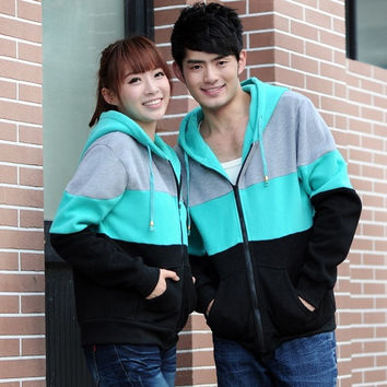 2013 Fall And Winter Clothes Coat Jacket New Lovers Couple Of Mixed Colors Hooded Fleece Sweater Jacket (for female) = 1929733828