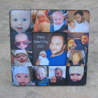 """Personalized Father's Day Picture Frame, Mother's Day Gift, Baby's First Year, Unique Baby Gift, Baby Photo Collage, 8"""" x 8"""" Frame"""
