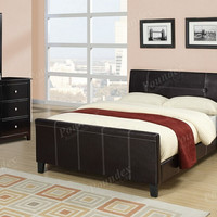 Poundex F9225Q 4 pc Restair espresso faux leather bed espresso finish wood queen bedroom set