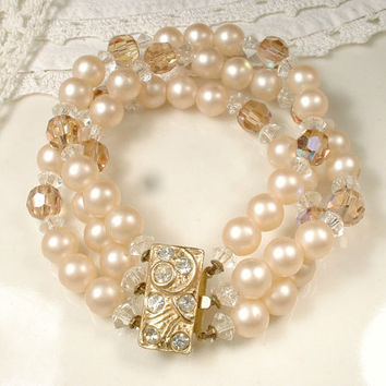 Blush Champagne Crystal & Pearl Gold Bridal Bracelet, Vintage Art Deco Three Strand Rhinestone Ornate Clasp, Gatsby Wedding 1920s Jewelry