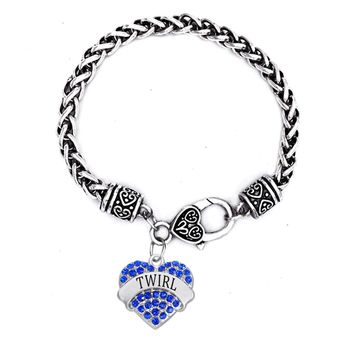DOUBLE NOSE Cheering Jewelry Alloy Silver Crystal Charm Hearts Cheerleader Majorette Twirl Bracelets