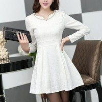Kawaii Lolita V-Neck Puff Sleeve Embossing Slim Fitting Dress - White or Red - S M L XL from Tobi's Finds