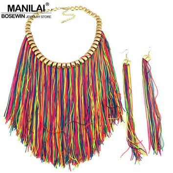 MANILAI Handmade Bohemia Jewelry Sets Fashion Choker Knitting Wool Waterfall Long Tassel Statement  Necklace Earring Set CE4243