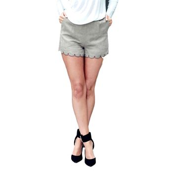 Faux Suede Scalloped Short, Grey
