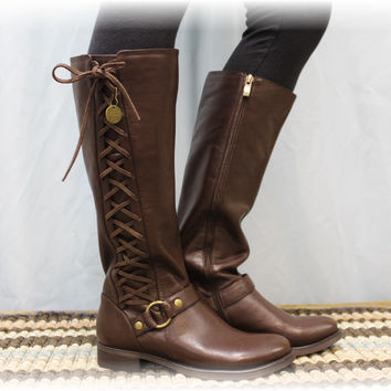 Boots, side lace up, tall fall boots, Brown Sterling side lacing, women's boot   SB1