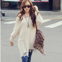2014 New Brand Tassel Irregular Hem Women Sweaters/Designer Spring Knitted Sweaters For Women/Casual Women Pullovers Tops = 1945809604