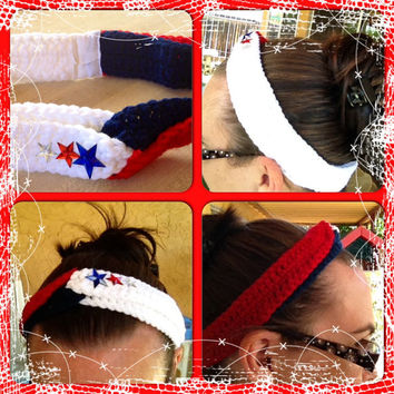 4th of July Crocheted Headband with Red, White & Blue headband - Patriotic