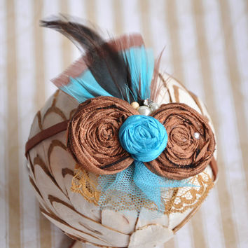 Turquoise and Brown boho chic tieback - silk flowers- feathers- neutrals- boho chic wedding- baby shower- birthday gift- photo prop