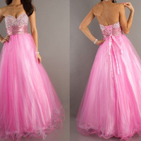 Pretty Ball Gown Sweetheart Neckline Floor Length Organza Graduation Dress from Gorgeous prom