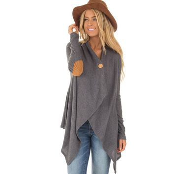 Womens Irregular Patchwork Cardigan Coat +Gift Necklace