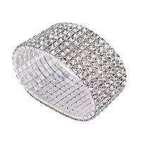 YAN & LEI Hot Sale Bridal Rhinestone Stretch Bracelet Silver Tone - Ideal for Wedding, Prom, Party or Pageant
