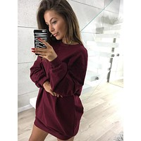 Burgundy casual crew neck sweater long-sleeved dress