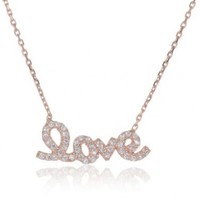 "Turkish Rose Gold Over Sterling Silver Pave Love Necklace, 16.5""+1.5"" Extender:Amazon:Jewelry"