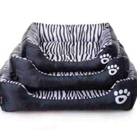 Zebra Print Pets House Cartoon Style Puppy Dogs Waterproof Beds
